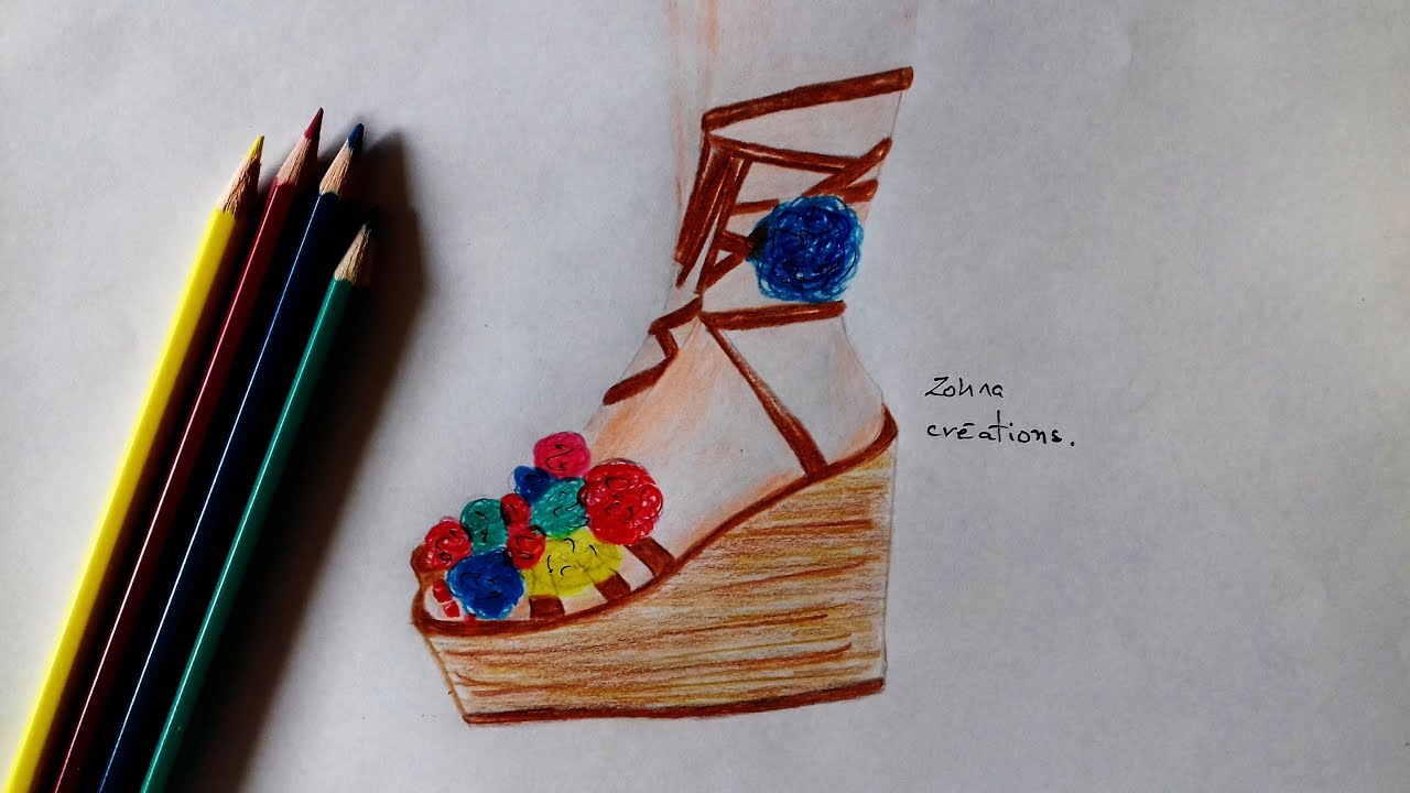 how to draw summer high heels youtube