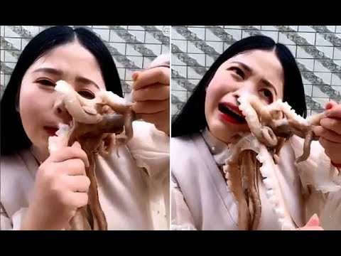 Octopus sucks onto blogger's face and wouldn't let go as she tries to eat it alive