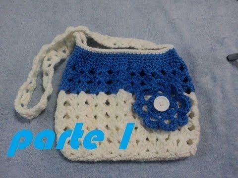 Parte 1 de 3 bolsa de abanicos tejida a ganchillo - Como hacer bolsos tejidos ...