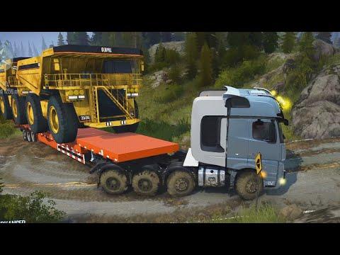 Spintires MudRunner - Mercedes Benz Actros Mp4 Trailer - Heavy Transport Caterpillar Dump Truck