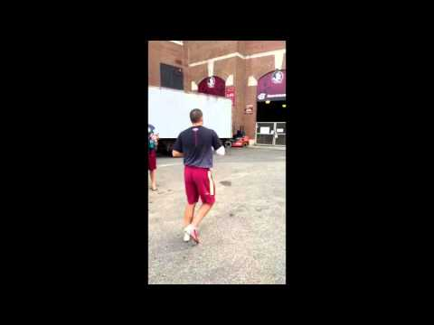 Florida State Quarterback Throws Football Over Stadium Wall From Parking Lot