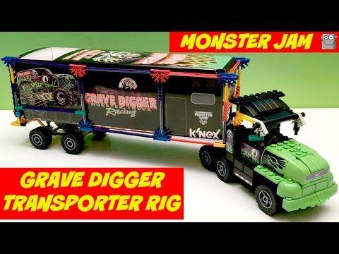 MONSTER JAM  K'NEX Grave Digger Transporter Rig Max-D El Toro Loco
