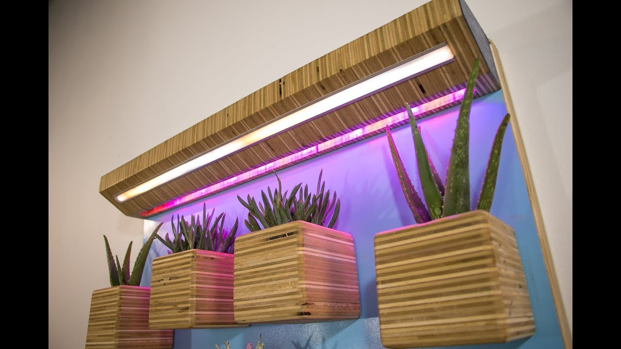 Diy Wall Garden Plywood Planters Amp Led Grow Lights Youtube