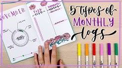 5 Types of Monthly Logs || Bullet Journal Ideas