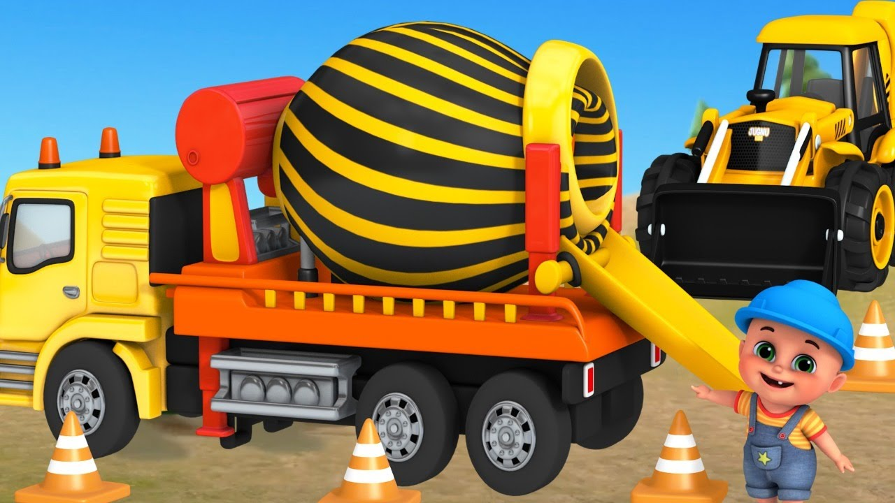 Trucks Construction for Kids - Excavator, Dump Truck, Mixer Truck - toy unboxing jugnu kids