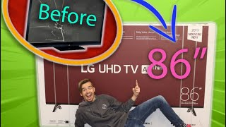 DESTROYING  My Parents TV and SURPRISING them a NEW ONE!!!