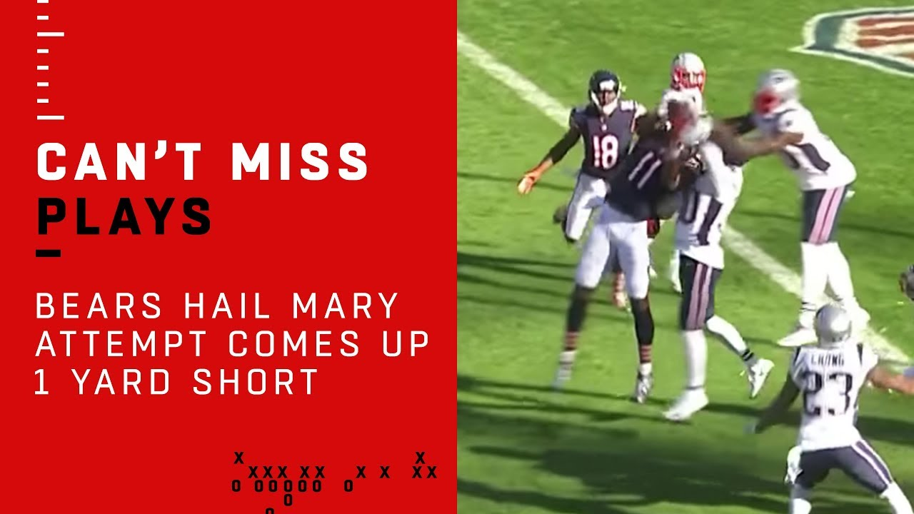 Bears Hail Mary Attempt Comes Up 1 Yard Short!!!