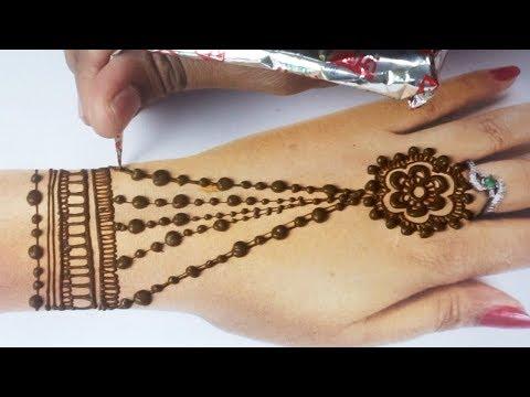 Easy Beautiful Mehndi - New Stylish Back Hand Mehndi Step by Step Jewellery Mehndi - मेहँदी सीखे