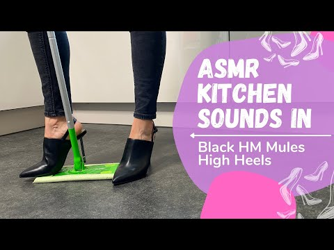 ASMR kitchen tiding up in HM high heels stiletto slingback mules by Lady Kim