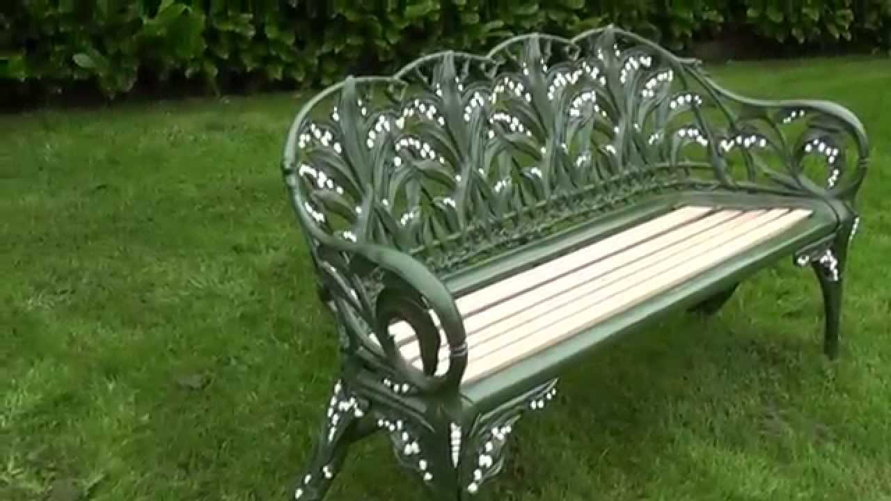 Antique Coalbrookdale Lilly Of The Valley Cast Iron Garden Bench   UKAA