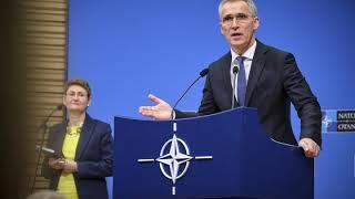 Пресс конференция генерального секретаря НАТО Йенса Столтенберга перед встречей министров иностранны