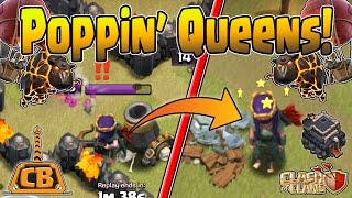 LOW HERO Queen POP vs TH10!! + Live Queen Pop! - TH9 3 Star Strategy! - Clash of Clans