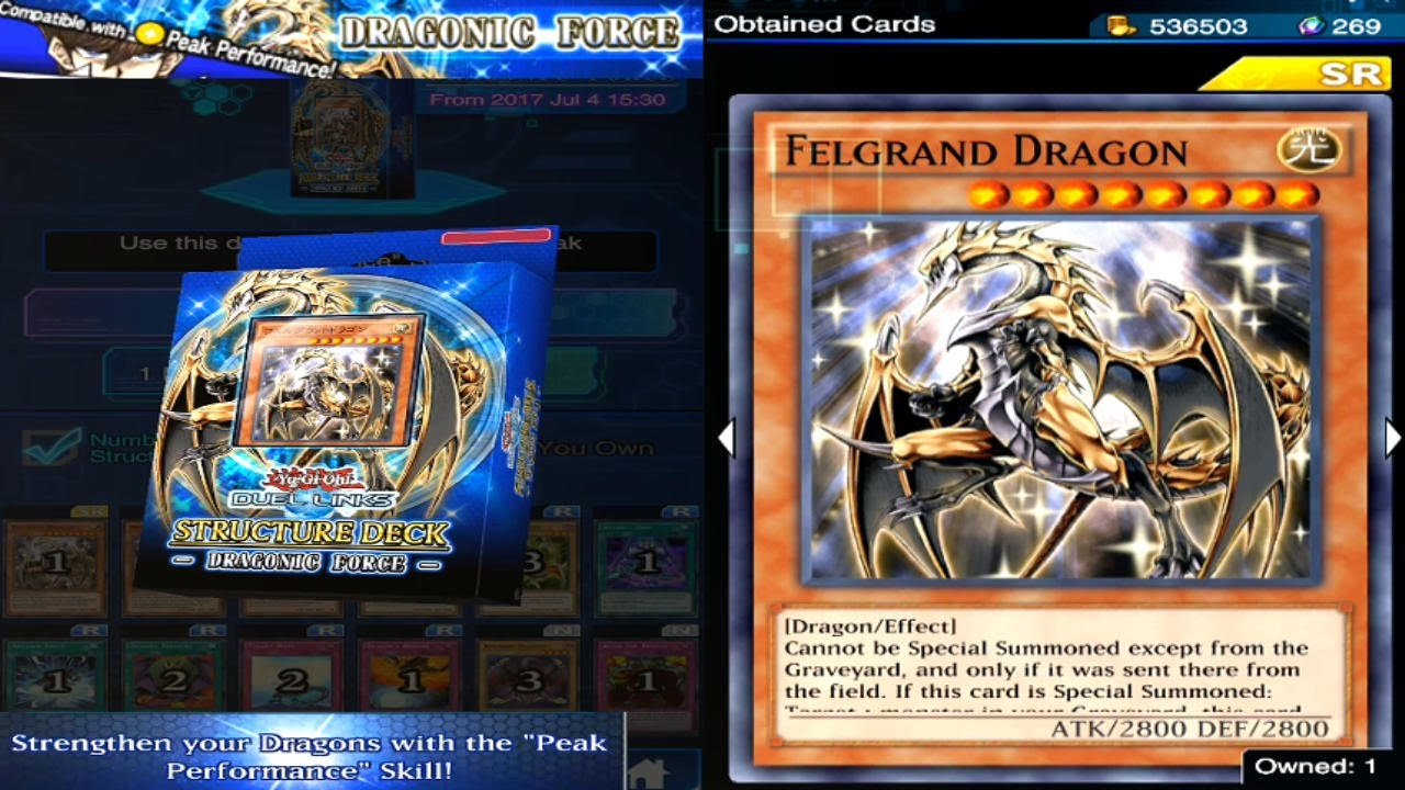 yu gi oh duel links dragonic force structure deck opening