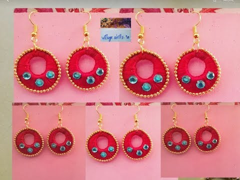 How to make silk thread chandbali earrings easily at home, very easy DIY,silk thread earrings making