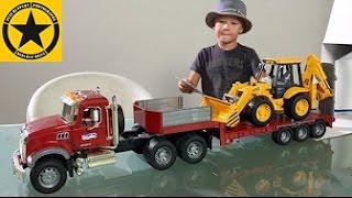 BRUDER TRUCKS for Kids MACK Granite with Backhoe JCB 4CX Mack Tractor Truck UNBOXING