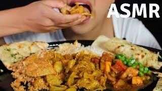ASMR Chicken Korma, Aloo Matter Paneer INDIAN FOOD EATING SOUNDS No Talking