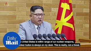 North Korea's Kim Jong-Un: Nuclear button is always on my desk - Daily Mail