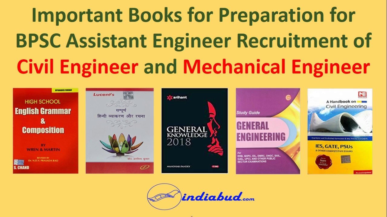 Best Books for Preparation for BPSC Assistant Engineer Civil and Mechanical  for all Subjects