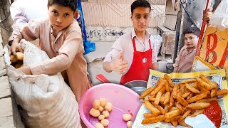 10 Years Old Afghani Brother Hard Working - How to Make Perfect OPTP, McDonald's Style French Fries