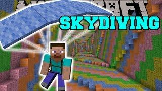 Minecraft: SKYDIVING MOD (PARACHUTE DOWN THE DROPPER!) Mod Showcase