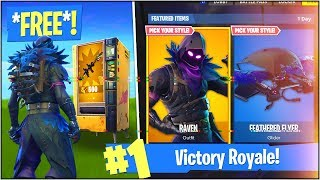 "*NEW* FREE ""RAVEN"" SKIN & ""FEATHERED FLYER"" GLIDER in Fortnite Battle Royale! (Update V.3.4.4)"