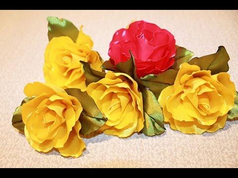 Розы из атласных лент своими руками мастер класс канзаши