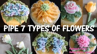 How to Pipe Flowers on a Cake (7 types in 7 minutes) - Fluffnpuff Pastry Baking Basics