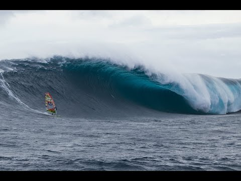 Windsurfer Alastair McLeod rides Pedra Branca in Tasmania