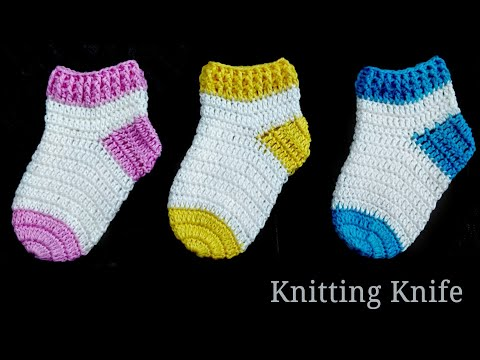 How To Crochet Perfect Shaped Baby Socks 🧦. Easy Tutorial