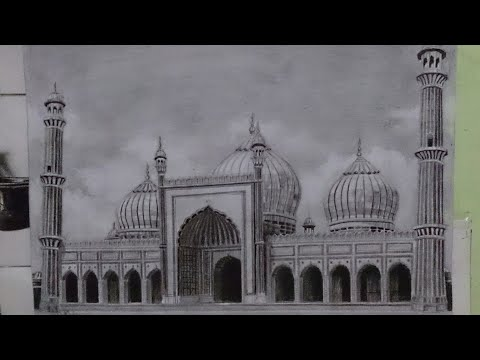 Pencil Drawing : Jama Mosque - Photorealistic Art by Artist - Hyperrealistic Art