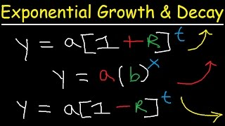 Exponential Growth and Decay Word Problems & Functions - Algebra & Precalculus