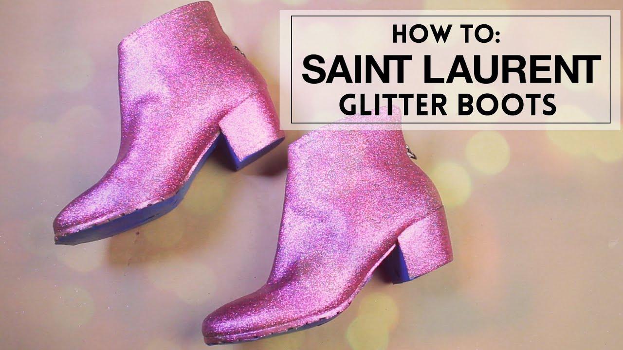 SAINT LAURENT DIY Glitter Boots
