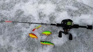 зимняя рыбалка и удочка с мультом