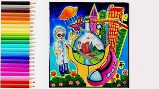 วาดภาพวันวิทยาศาสตร์ How to draw National Science Day