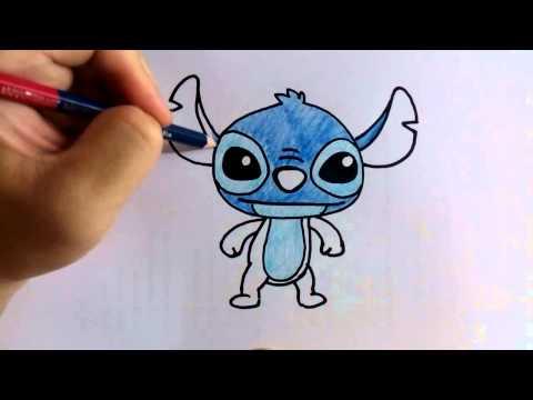 สอนวาดรูป ระบายสี การ์ตูน Stitch ท่ายืน วาดการ์ตูนกันเถอะ