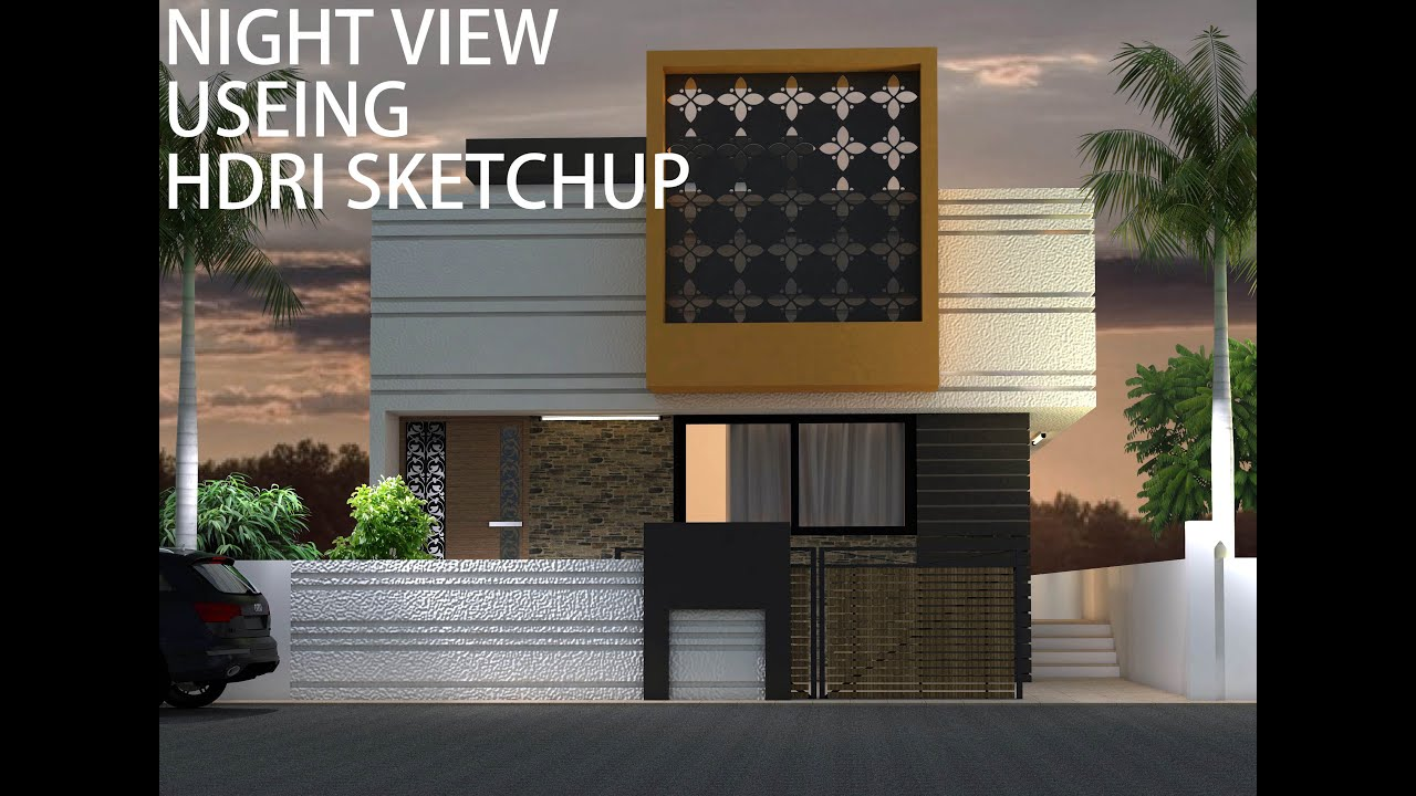 Sketchup Exterior Night With V Ray   YouTube