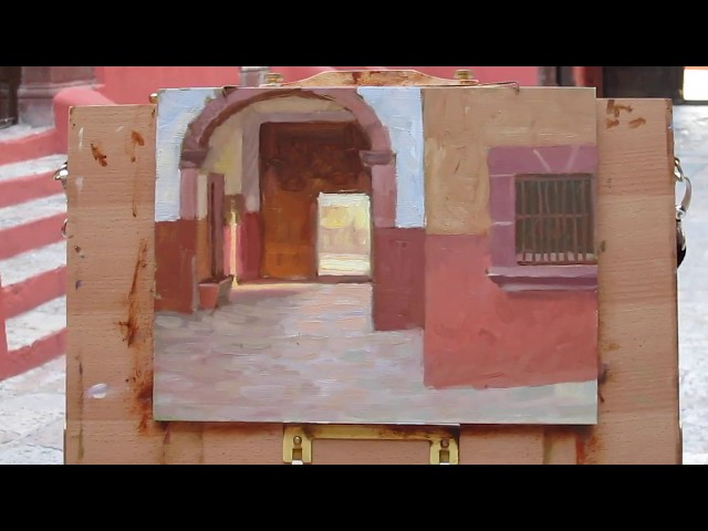 Painting in a church courtyard in San Miguel de Allende, Mexico.