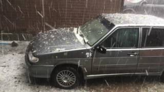 Смертельный град в Москве, падают деревья ломают машины