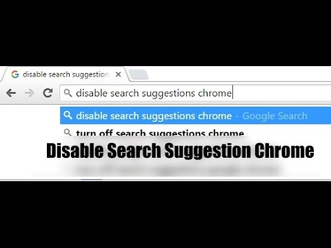 How to Disable / Enable search suggestions chrome - YouTube