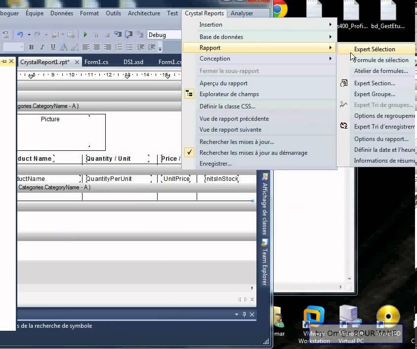 C# Créer et remplir un crystalreport (avec paramétre) - methode 1 - visual  studio 2010
