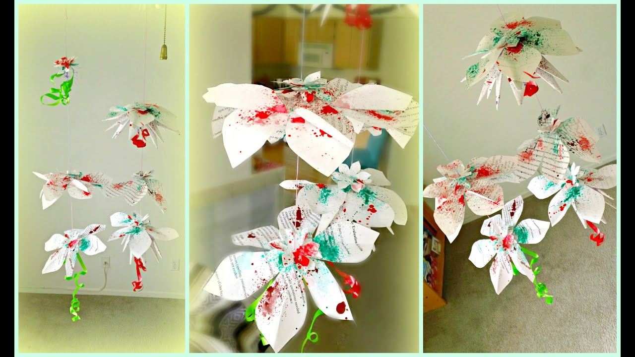 Diy hanging flowers paper decorations youtube for Hanging christmas decorations