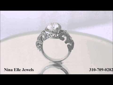 Pear Shape Antique Style Diamond Engagement Ring PE6 Nina Elle Jewels