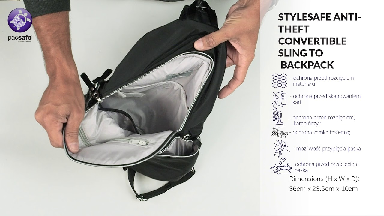 852333456 STYLESAFE ANTI THEFT CONVERTIBLE SLING TO BACKPACK - YouTube