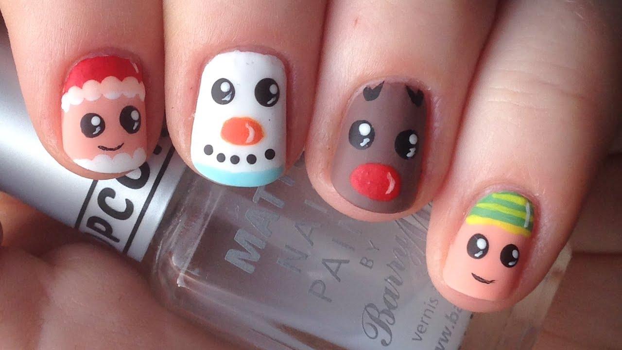 Christmas Character Nails (Santa, Snowman, Reindeer, Elf ...