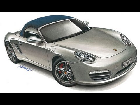 Porsche Boxster Drawing By Adonis Alcici Youtube