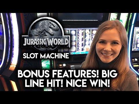 NEW Jurassic World Slot Machine! Max Bet! HUGE Line Hit! Great WIN!!!