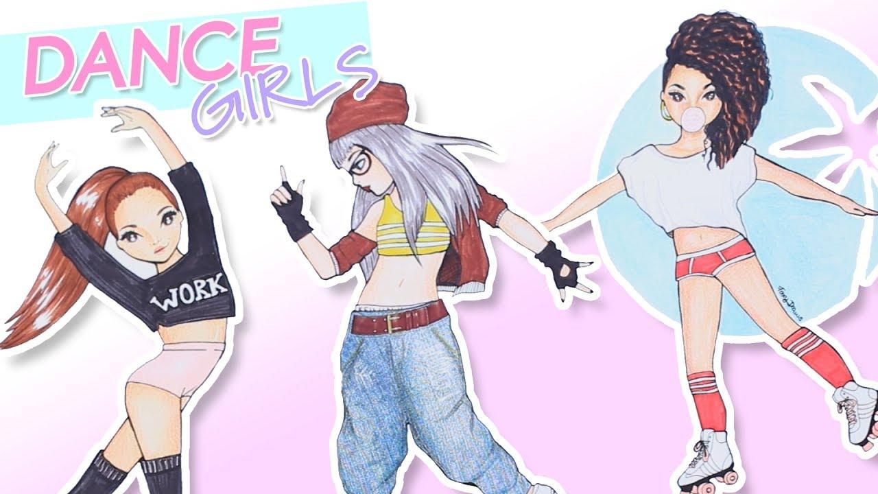 DANCE GIRLS MALEN | TOPModel Dance Malbuch || Foxy Draws - YouTube