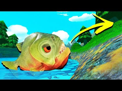 DEADLY Green PIRANHA ESCAPES The Map! - Feed and Grow Fish Gameplay