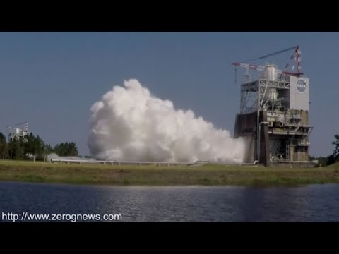 SLOW MOTION - SLS RS-25 Rocket Engine Test Fire For NASA's Space Launch System