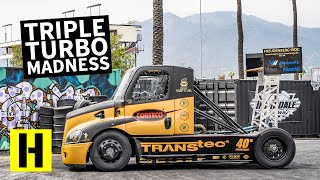 2,400 Horsepower Triple Turbo Semi Truck Obliterates its Tires: Mike Ryan's Hillclimb Beast
